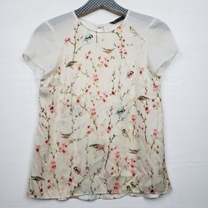 Zara Floral and Bird Print Blouse